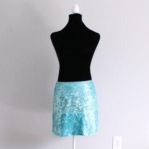 NWT Cache Blue Iridescent Sequin Mermaid Skirt Sz6